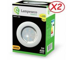 Lampesecoenergie - Lot de 2 Spot Led Encastrable Complete Blanc Lumière Blanc Neutre 5W eq.50W