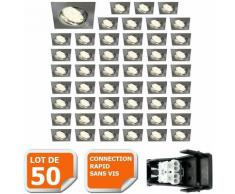 LOT DE 50 SPOT ENCASTRABLE ORIENTABLE LED CARRE ALU BROSSE GU10 230V eq. 50W BLANC NEUTRE