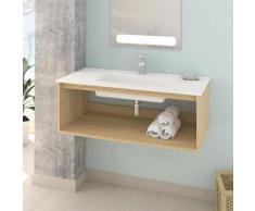 Meuble salle de bain design suspendu UNO WOOD avec plan vasque 100 cm