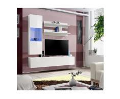 Meuble TV FLY H3 design, coloris blanc brillant. Meuble suspendu moderne et tendance pour votre