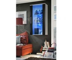 Price Factory - Vitrine LED Murale Design Neo II 110cm blanc et noir brillant avec système LED.