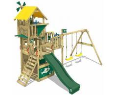 WICKEY Aire de jeux Portique bois Smart Engine avec balançoire et toboggan vert Cabane enfant