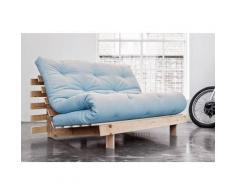 Canapé convertible futon ROOTS pin naturel coloris bleu clair couchage 140*200 cm. - bleu