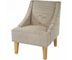 HHG - Fauteuil Malmö T371, fauteuil rembourré de salon, rétro, design des années 50 ~ beige/marron,