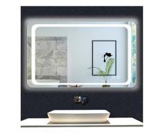 OCEAN Miroir de salle de bain 90x70cm anti-buée miroir mural avec éclairage LED modèle Classique