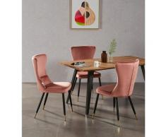 Table à Manger Vintage Coloris Chêne + 4 Chaises en Velours Rose - Style Scandinave