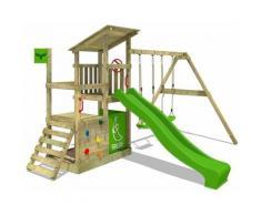 Aire de jeux Portique bois FruityForest avec balançoire et toboggan vert pomme Maison enfant
