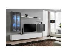 Paris Prix - Meuble Tv Mural Design switch Xii 270cm Gris & Blanc