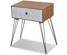Table de nuit chevet commode armoire meuble chambre avec 1 tiroir rectangulaire marron - Marron
