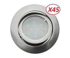 Lot de 45 Spot Led Encastrable Complete Satin Orientable lumière Blanc Chaud eq. 50W ref.209