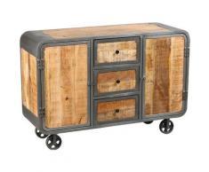 Pegane - Bahut de 2 portes et 3 tiroirs en acier brut - Dim : L.130 x P.47 x Ht.90 cm