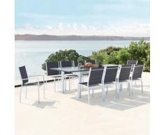 Arezzo 10 blanc : salon de jardin extensible en aluminium + 10 assises en textilène