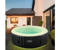 Gonflable de Massage Bien-être de Piscine de Spa Extérieur avec LED Rond - Arebos