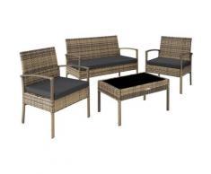 Tectake - Salon de jardin SPARTE 4 places - mobilier de jardin, meuble de jardin, ensemble table et