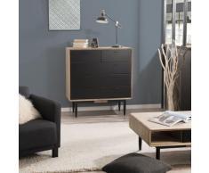 Commode 5 tiroirs bois et métal - Chêne clair cérusé et noir
