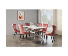 Ensemble Table à Manger Extensible Effet Marbre + 6 Chaises en Velours Rose - Style Scandinave