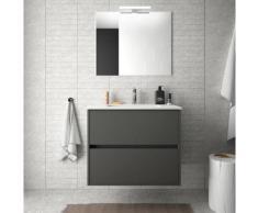 Meuble de salle de bain suspendu 70 cm gris opaque avec lavabo en porcelaine | Avec miroir et lampe
