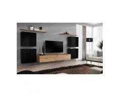 Ensemble meuble salon SWITCH IV design, coloris chêne Wotan et noir brillant . - Marron