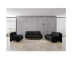 Ensemble salon en cuir noir 3+2+1 places ROMEO