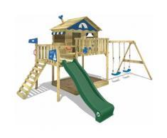 Aire de jeux Portique bois Smart Coast avec balançoire et toboggan vert Maison enfant sur pilotis