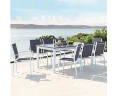 Arezzo 8 blanc : salon de jardin extensible en aluminium + 8 assises en textilène