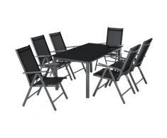 Salon de Jardin avec 6 Chaises Pliantes et 1 Table en Verre et en Aluminium Gris Noir