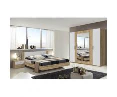 Pegane - Chambre à coucher complète adulte (lit 160x200 cm + 2 chevets + armoire) coloris imitation