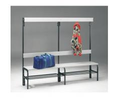 Banc pour vestiaire en acier, pour environnements humides - h x p 1600 x 335 mm - L 2000 mm, avec