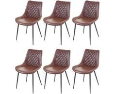 6x chaise de salle à manger HHG-960, chaise de cuisine, vintage ~ similicuir, marron