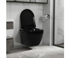 Vidaxl - Toilette murale sans bord à fonction de bidet Céramique Noir