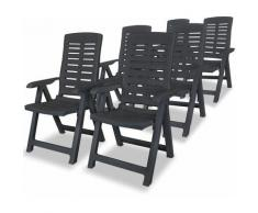 Zqyrlar - Chaises inclinables de jardin 6 pcs Plastique Anthracite