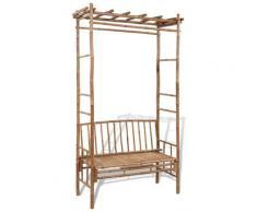 Betterlife - Banc de jardin avec pergola 130 cm Bambou8474-A