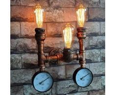 Tuyau D'eau Applique Murale Vintage Steampunk, Lampe Murale Industrielle Rustique avec Manomètre,