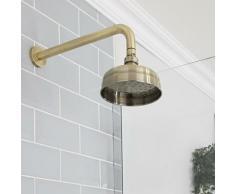 Elizabeth - Pommeau de douche pluie rond fixe rétro 15 cm avec bras mural - Or brossé - Hudson Reed