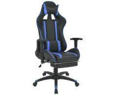 VDTD07460_FR Chaise de bureau inclinable avec repose-pied Bleu - Topdeal