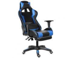 Chaise de Bureau Fauteuil Gaming Jeu Ergonomique Inclinable 155°Bleu LAVENTE