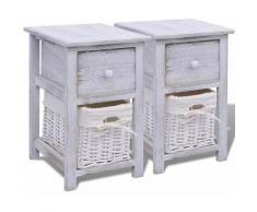 Table de nuit chevet commode armoire meuble chambre 2 pcs bois blanc - Blanc