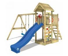 Aire de jeux WICKEY MultiFlyer portique avec toit en bois, balançoire, mur d'escalade et toboggan,