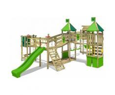 FATMOOSE Aire de jeux Portique bois FunnyFortress avec balançoire TowerSwing et toboggan vert pomme