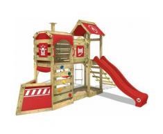 WICKEY Aire de jeux Portique bois SteamFlyer avec balançoire et toboggan rouge Cabane enfant