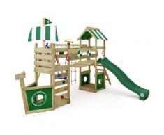 Aire de jeux Portique bois StormFlyer avec balançoire et toboggan vert Cabane enfant exterieur avec