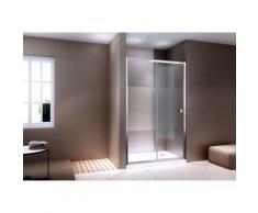 Paroi porte de douche en niche NANO verre véritable EX505 - satiné partiel - hauteur 195cm - choix