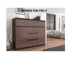 MONACO 2W   Commode contemporaine meuble rangement chambre/salon   120x40x98   Dressing 6 tiroirs 2