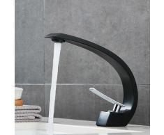 Top Design Robinet de Lavabo Cascade Mitigeur en Laiton Chromé pour Salle de Bain Couleur Noir