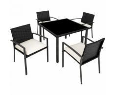 Salon de Jardin 4 Chaises et 1 Table en Résine Tressée Noir
