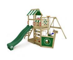 Aire de jeux bois WICKEY SeaFlyer Portique de jeux en bois Maison pour jardin avec balançoire et