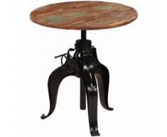 Hommoo Table de bar Bois de récupération massif 75 x (76-110) cm