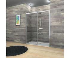 Porte de douche coulissante, 120 x 200 cm, verre 8 mm, profilés aspect chromé, MasterClass,
