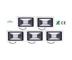 5×Auralum 30W Projecteur LED Ultraléger Spot LED IP65 Éclairage Extérieur et Intérieur 2250LM de