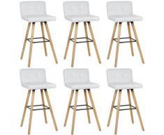 Lot de 6 Chaise de Cuisine Salle à Manger Design Assise rembourrée Pieds en Bois